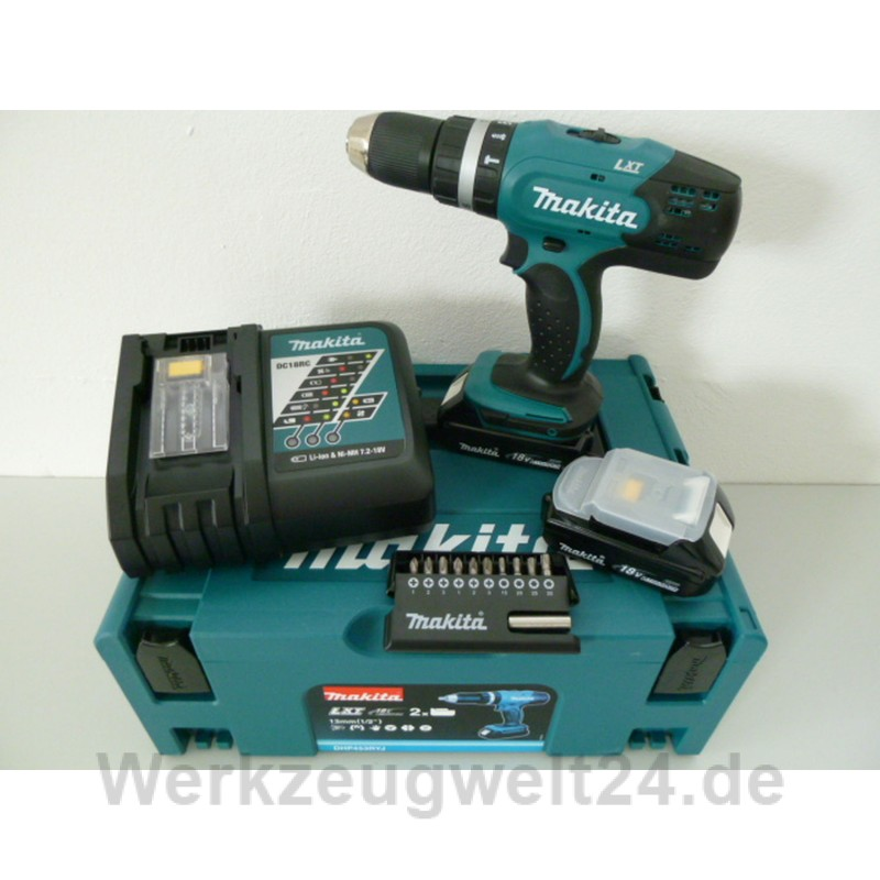 makita akku schlagbohrschrauber dhp453ryj makita bit set 11 teilig. Black Bedroom Furniture Sets. Home Design Ideas